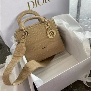 Dior lady Dior d lite medium canvas nude beige bag